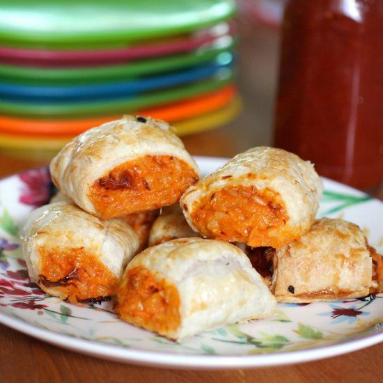 I made these vegetarian carrot, cheese and rice sausage rolls for my fussy 5 year old. We all loved them.
