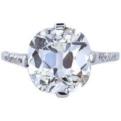 Art Deco Old Cushion Cut 5.01 Diamond Engagement Ring