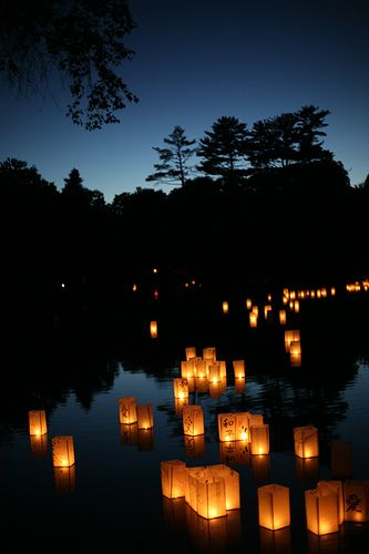 sending off the spirits of the dead on lanterns floated on the waters of a river or the sea (Japan)