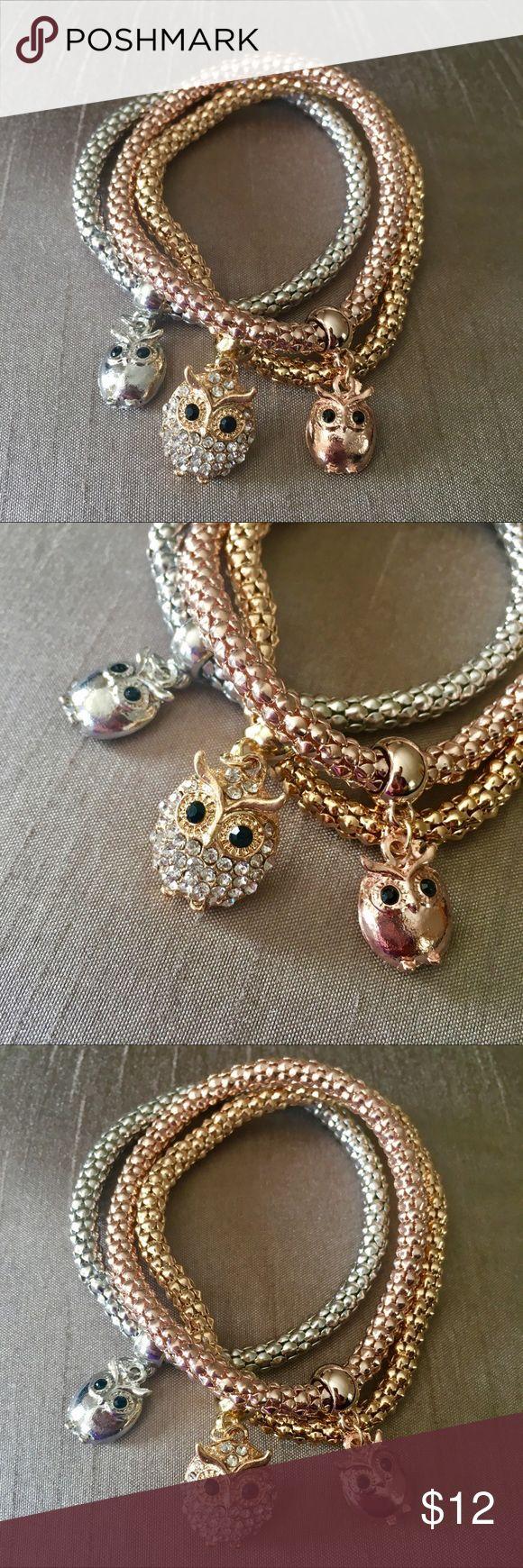 Set Of 3 Owl Charm Multi Metal Stretch Bracelets Boutique