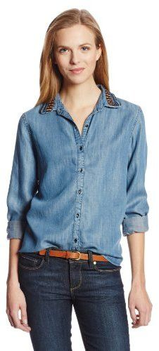 $129, Blue Denim Shirt: Maison Scotch Denim Shirt. Sold by Amazon.com. Click for more info: https://lookastic.com/women/shop_items/67217/redirect