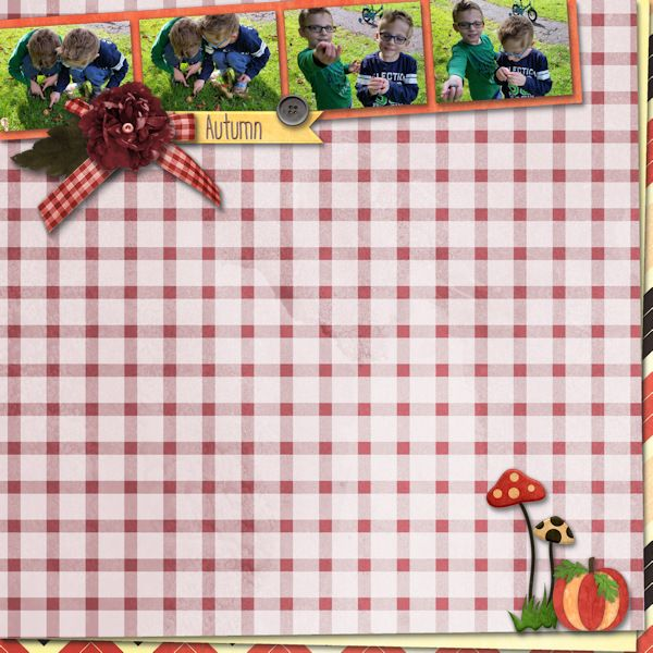 Autumn - Digital Scrapbooking Layout I created using August 2016 Template pack…