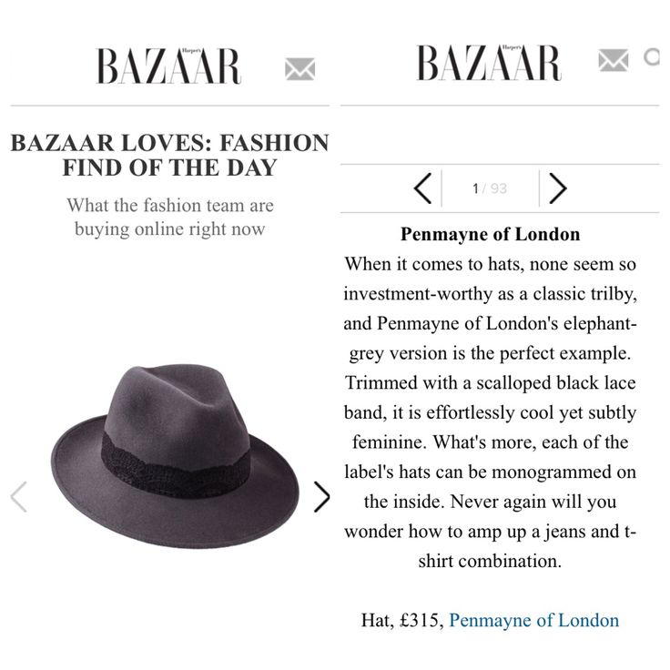 Harpers Bazaar's Fashion Find of The Day...The 'Perfect Trilby' featuring our Amber Trilby in Elephant Grey (9th November 2015).