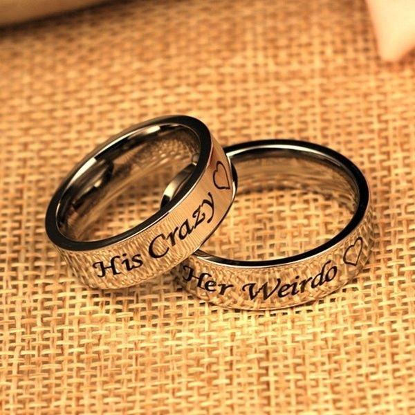 Anelli Di Coppia Titanium Steel Ring His Crazy Her Weirdo Couple