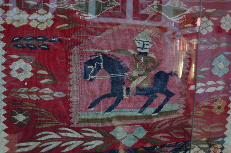 Weaving depicting the feared Tatar on horseback