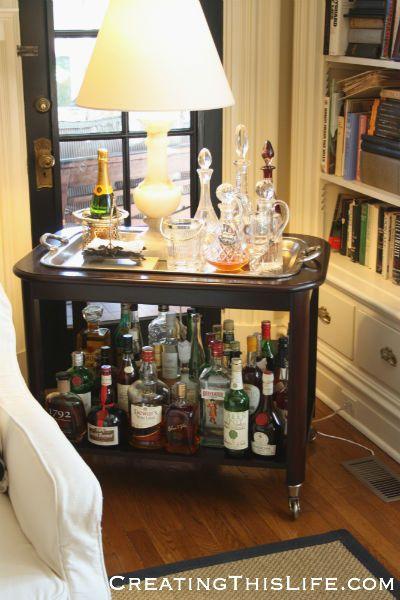 Mary Carol Garrity's fall home tour @ CreatingThisLife.com. Nell Hill's. Bar cart.