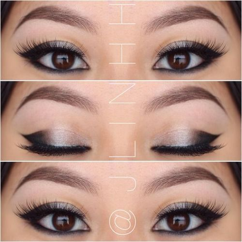 Black and silver makeup for small or oriental eyes;