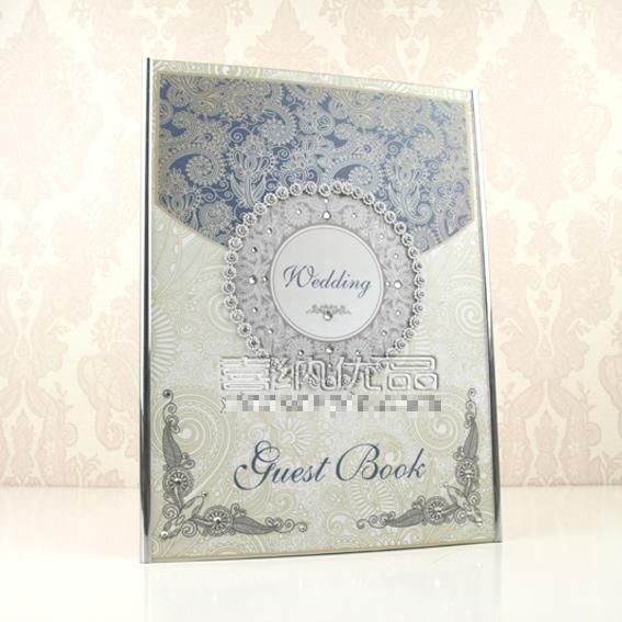 Wedding Guest Book Blue Wedding Book Decoration Customized Gifts Wedding GuestBooks Ivory Personalized Wedding GuestBook