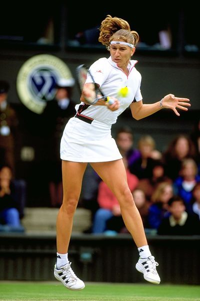Steffi Graf (Germany) Winner of four Australian Opens, six French Opens, five US Opens and seven Wimbledon titles as well as Olympic Gold in 1988. <3 her!