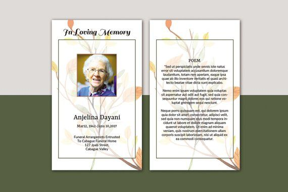 Prayer Card Template Funeral Prayer Card Editable Ms Word Photoshop Template Instant Download V Funeral Prayers Prayer Cards Funeral Program Template