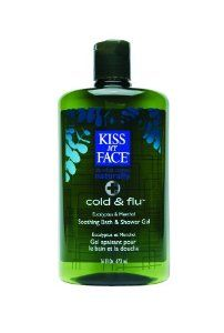 Kiss My Face: Bath & Shower Gel, Cold & Flu 16 oz (12 pack) by Kiss My Face. $164.98. You don't need to have a cold to be able to enjoy this popular pick-me-up and all-around soother. Our Cold and Flu Bath and Shower Gel is the perfect day-starter or antidote for those under-the-weather blues. Created with time-tested botanicals like Eucalyptus, Fennel, Horehound and other aromatics. To soothe the skin we've added Olive Oil, Aloe Vera, and Allantoin