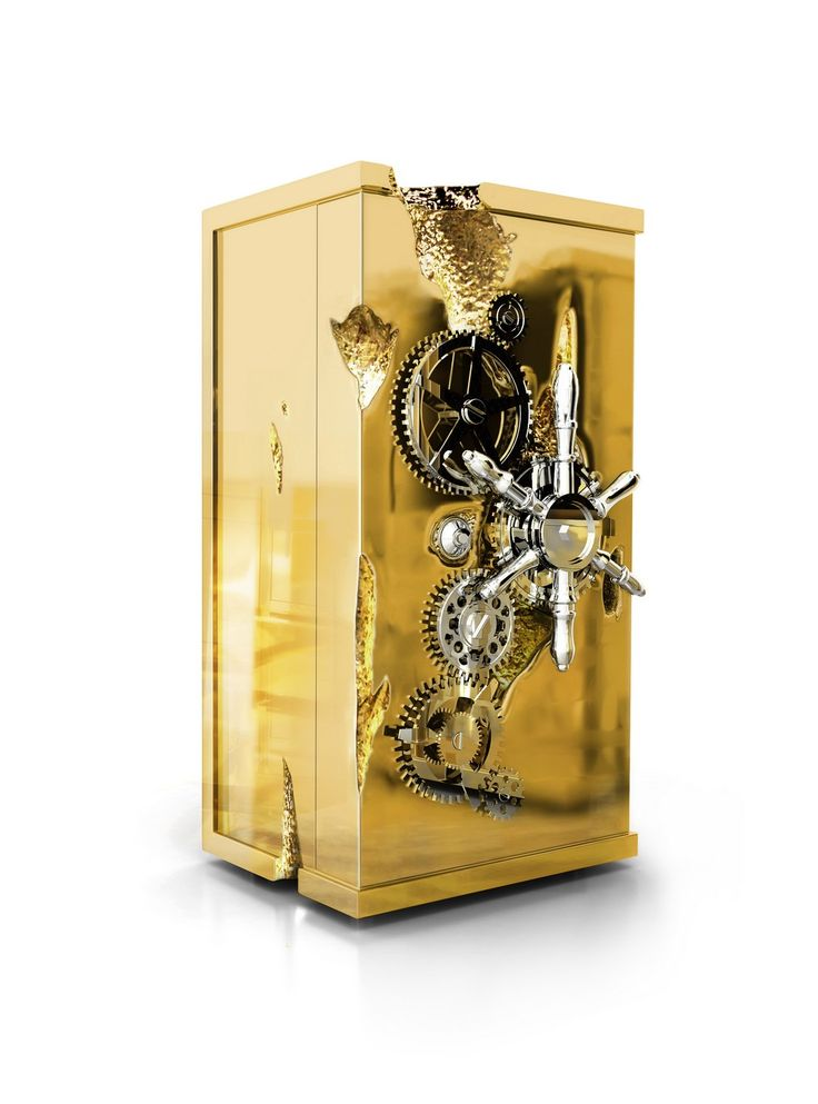 MILLIONAIRE LUXURY SAFE   It features a solid polished brass frame, with gold coating. Its opening system works with a secret code combination   www.bocadolobo.com #bocadolobo #luxuryfurniture #exclusivedesign #interiodesign #designideas #millionaire #safe