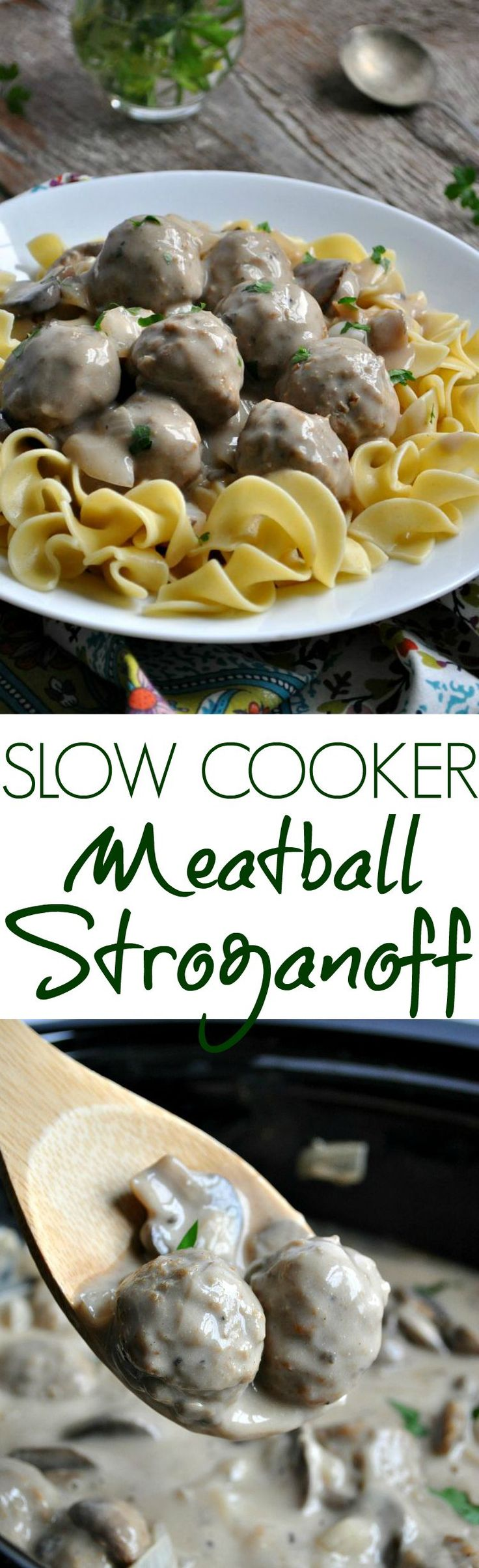 Slow Cooker Meatball Stroganoff is an easy dump-and-go dinner! Just add the ingredients to your Crock Pot and come home to a delicious meal!