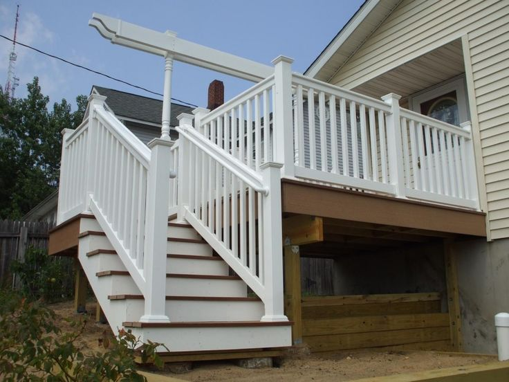 Exterior:Exterior Amazing Deck With Stair For Exterior Decoration With White Wood Handrail Light Brown Wood Step And Wood Home Exterior Outs...