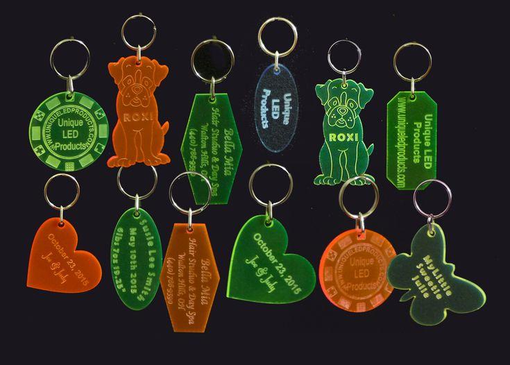 Custom #Engraved Acrylic #KeyRings, #KeyTags #keychains - Unique LED Products