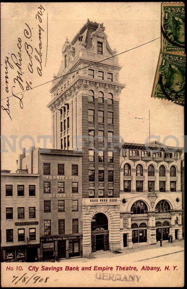 City Savings Bank&Empire Theatre NY New York vintage original ca1900 postcard