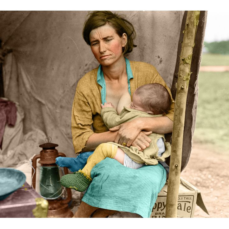 "Dorothea Lange Color Destitute pea pickers in California. Mother of seven children. Age thirty-two.  Nipomo, California.    Published - March 1936 Dorothea Lange's best-known picture ""Migrant Mother"" Florence Owens Thompson. Dust bowl migration Colorized"