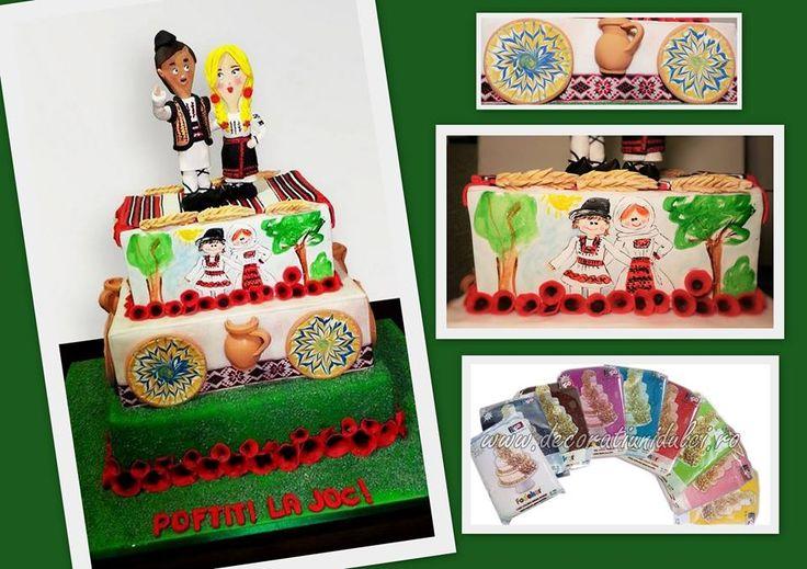 Un tort cu motive populare de pus la colectie :) SweetBox by Cristina Badea #pastadezahar #FoDekor culori intense https://decoratiunidulci.ro/folcloric  SURSA: https://www.facebook.com/cristinabadea2008