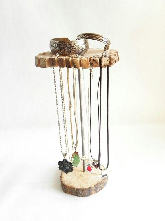 Présentoir à bijoux, rangement à bijoux, présentoir à colliers en bois naturel pour 24 colliers, fait main