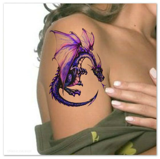Temporary Tattoo Dragon Waterproof Ultra Thin by UnrealInkShop