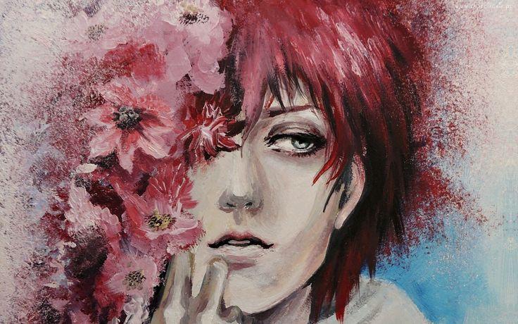 Obraz, Malarstwo, Twarz, Kobieta, Kwiaty
