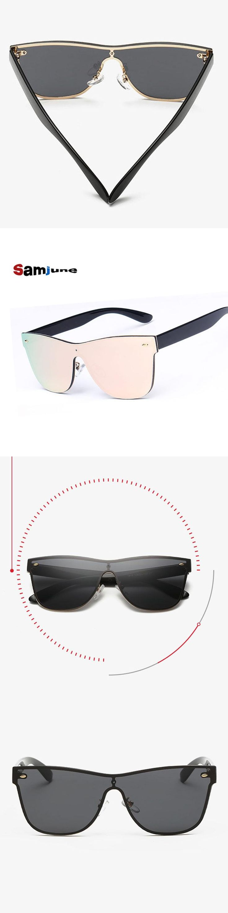 Mirror sunglasses women luxury sunglasses Conjoined Spectacle Lens brand designer Rimless oculos de sol sunglasses female