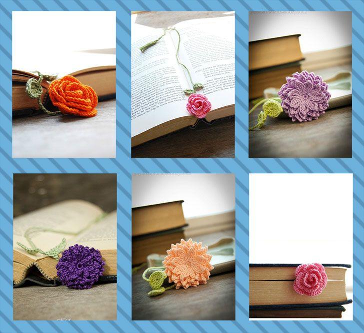 Faça Você Mesmo - Marcador de livro com flores de crochê