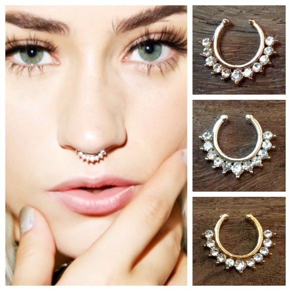 Rhinestone Faux Septum/Nose Ring Rhinestone Faux (non pierced) Septum Ring  Price is for 1 septum ring.   Available in Gold tone, Rose Gold Tone or Silver Tone (please list color desired in comment box) Jewelry Rings
