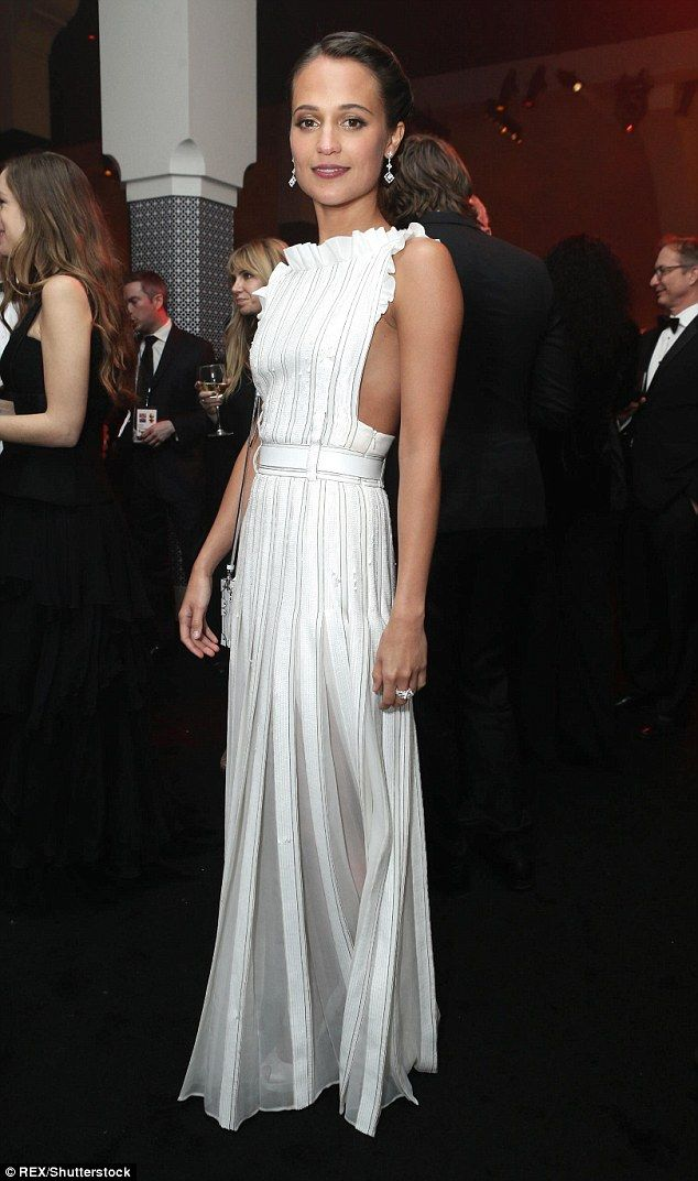 The next big thing?Alicia stunned in a white column dress with her hair up at the NBC Uni...