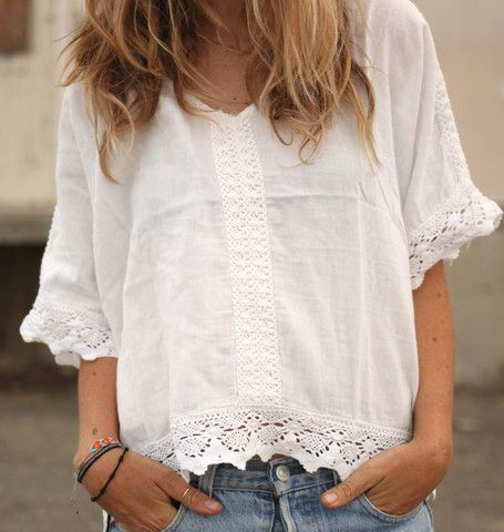 White tunic with white lace trim