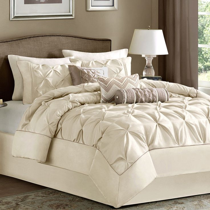 NEW Bed Bag Cal King Queen Full 7 Pc Ivory Cream Pinch
