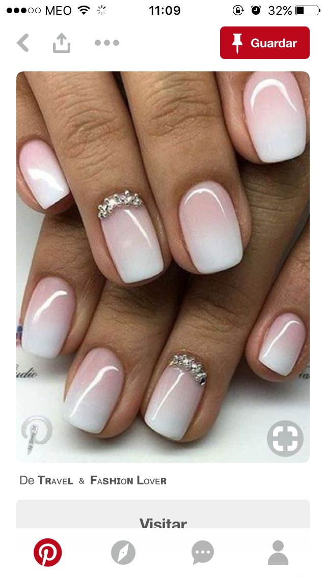 Dream wedding nails! French ombre with stones