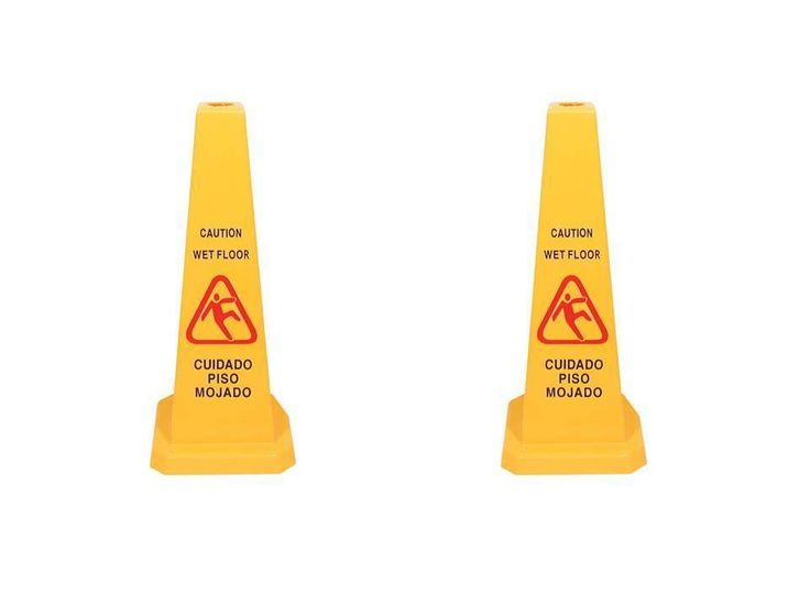 "2-Pack NEW 27"" Yellow Caution Wet Floor Cone-Shaped Sign #UnbrandedGeneric"