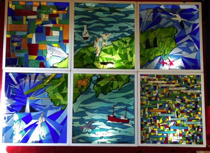 Stained glass mosaic light box comprised of six panels depicting a map of Cape Clear Island with in layed images & text