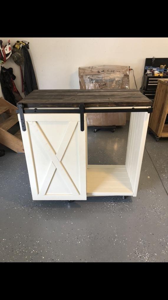 Bigger Mini Size Fridge Farmhouse Style With A Barn Door Slider Cabinet Coffee Station Mini