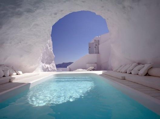COOL...Swimming Pools, Santorini Greece, Dreams, Caves, Travel, Places, Nature Pools, Modern Interiors, Hotels