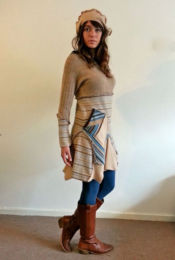 Upcycled Caramel Beige Blue Lambswool Sweater Dress by darrylblack
