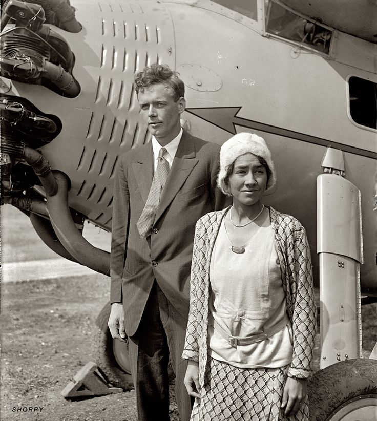 "September 18, 1929. ""Lindbergh & wife."" Charles and Anne Morrow Lindbergh, four months after they married."