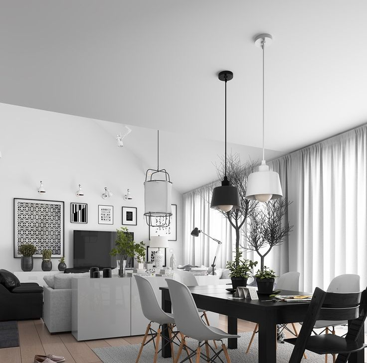 Our first apartment shows how Scandinavian structure can incorporate other trends – in this case, bold monochromes. The living and dining room spaces fuse these together nicely. White leather couches and school chairs mingle with a solid black table and sofa chair. Identical hanging lights and almost-identical prints take turns in polarised colours. Hints of green and a wood stack let nature shine.