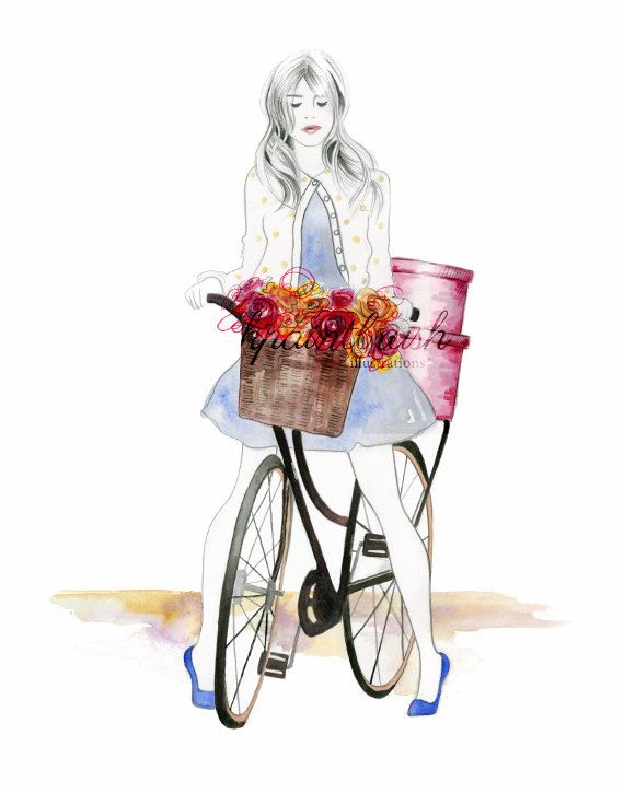 Giclée Art Print, Dutch girl on bicycle with flowers illustration wall art fashion print by piinkpaintbrush on Etsy https://www.etsy.com/listing/222702629/giclee-art-print-dutch-girl-on-bicycle
