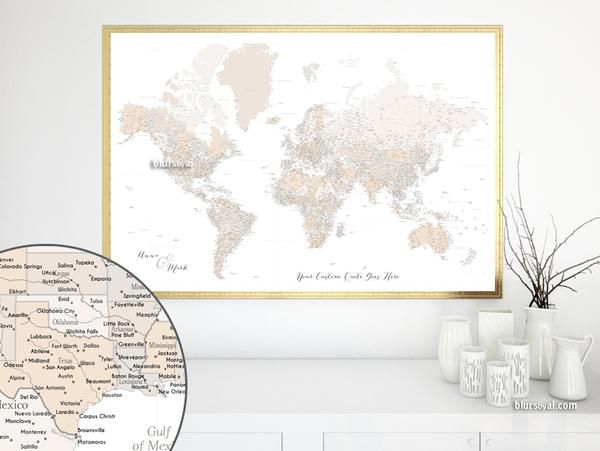 Mejores 12 imgenes de large and highly detailed world map prints personalized world map print highly detailed map with cities in light brown belinda gumiabroncs Image collections