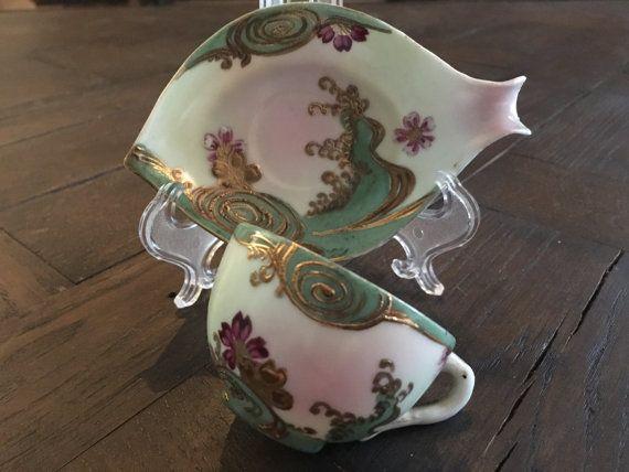 Antique Meiji Era Japanese Demitasse Tea Cup & Saucer Set Fish Shaped Hand Painted Nagoya Eggshell Porcelain w Gold Moriage Rare