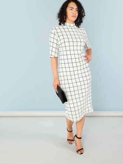 89bbed86479 Shop Plus Mock Neck Grid Print Form Fitting Dress online. SheIn offers Plus  Mock Neck Grid Print Form Fitting Dress   more to fit your fashionable  needs.