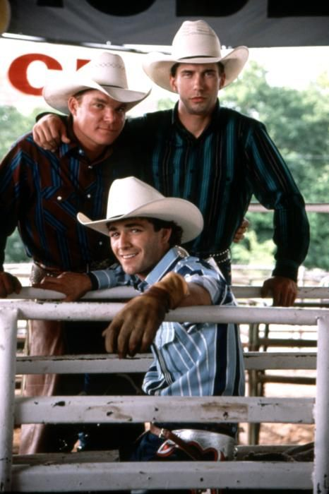 "The film version: Cody Lambert, Tuff Hedeman, Lane Frost. ""8 Seconds"""