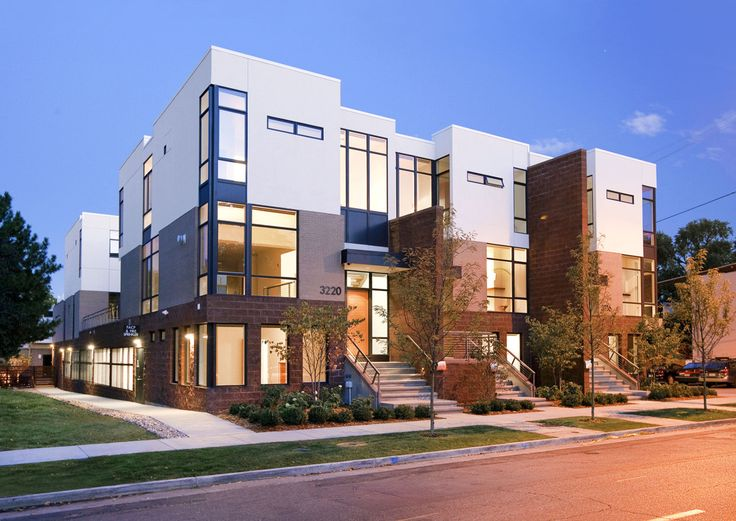 A model of urban architecture and the urban renaissance of north Denver, the Zuni townhomes are wood-framed 3-story urban infill units in the Highlands.