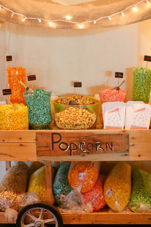 colored popcorn bar... Fall wedding idea?