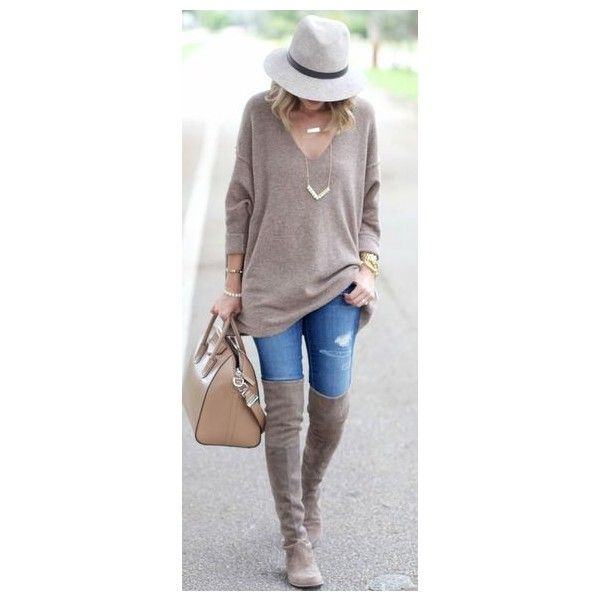 What are the best taupe over the knee boots? ❤ liked on Polyvore featuring shoes and boots