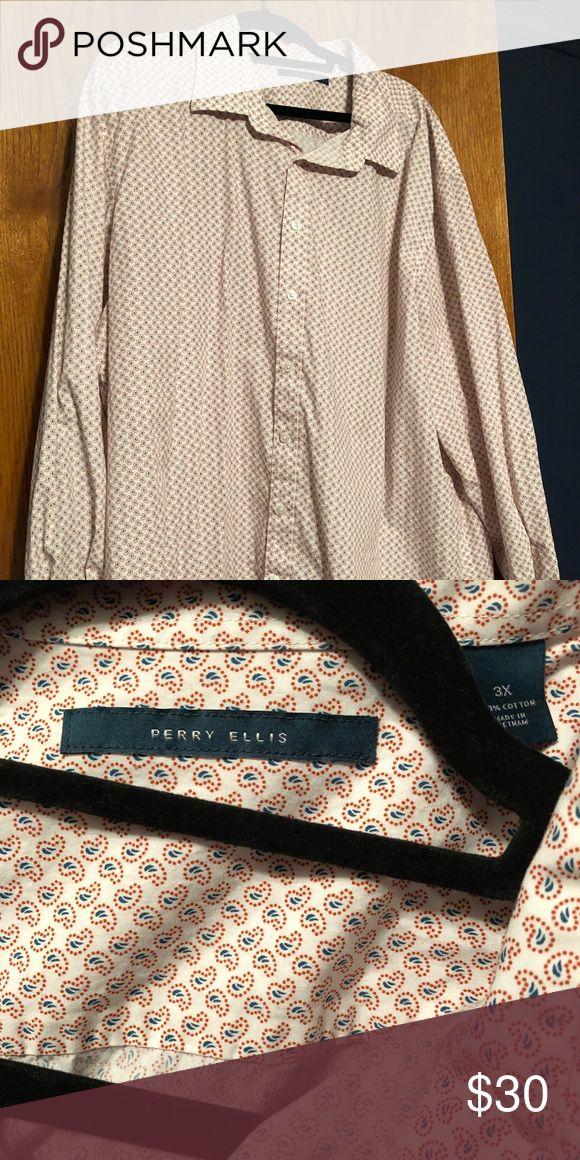 Perry Ellis shirt Men's Perry Ellis 3XL shirt.....white with small orange paisley Perry Ellis Shirts Casual Button Down Shirts