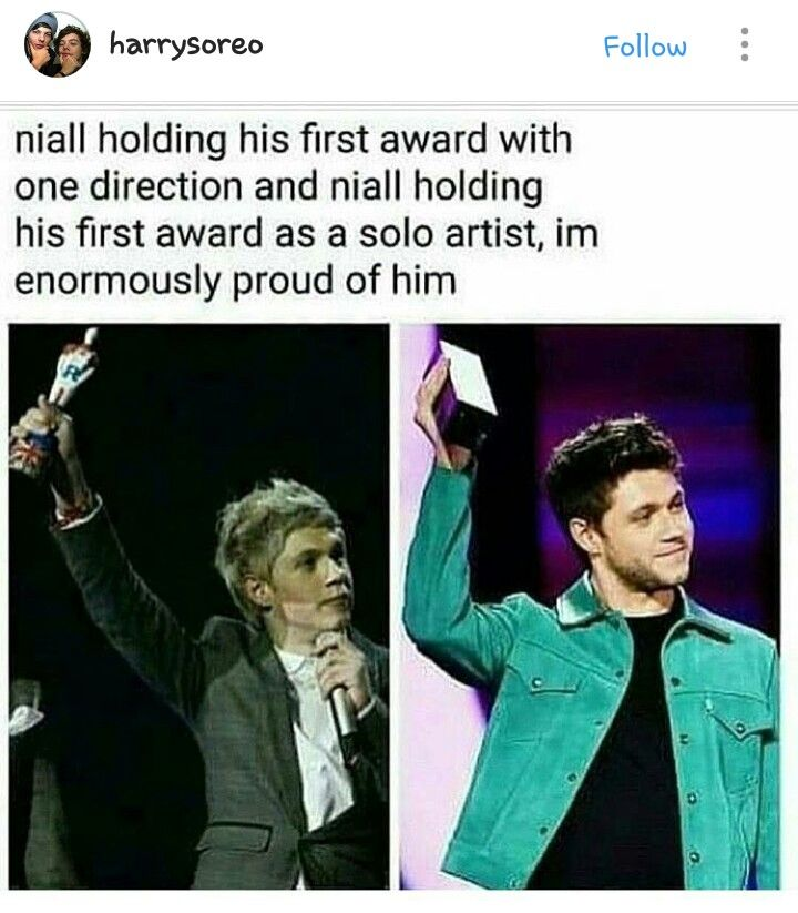 Niall with his first award with One Direction and as a solo artist
