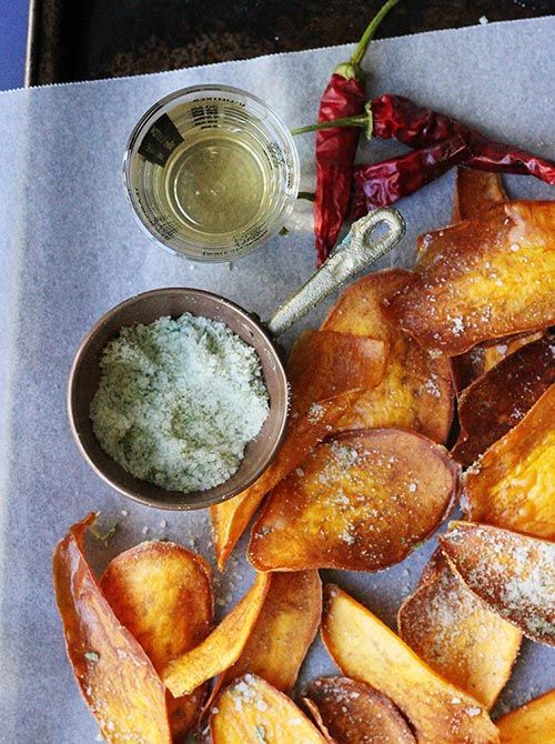 Sweet Potato Crisps with Rosemary Salt Recipe Potatoes Chips, Potatoes ...